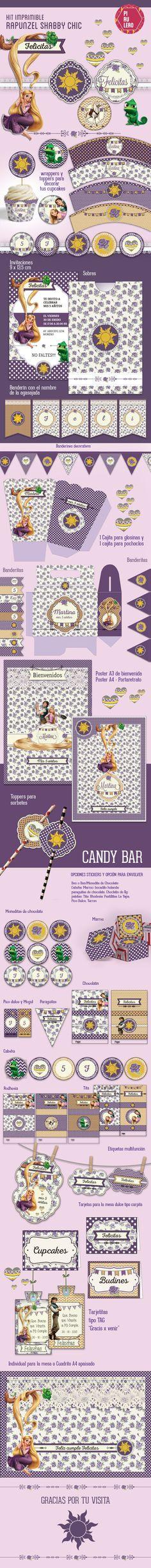 Kit imprimible Rapunzel #Rapunzel #Printables