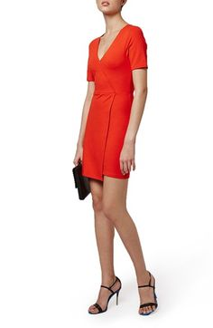 Topshop V-Neck Ponte Faux Wrap Dress (Petite) available at #Nordstrom