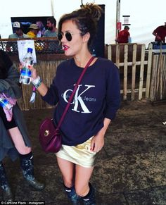 Music lover: Caroline Flack, stepped out in a Calvin Klein sweater and gold suede skirt at the Glastonbury music festival in Somerset Glastonbury Music Festival, Dancing On My Own, Laura Whitmore, Caroline Flack, Gold Skirt, Instagram Music, Suede Skirt, Festival Fashion, Festival Style