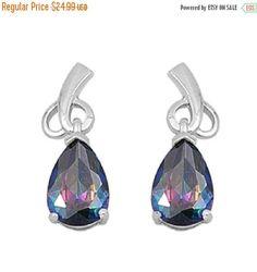 Abstract Heart Bridesmaid Dangling Fancy Earrings Tear Drop Pear Cut Rainbow Topaz CZ 925 Sterling Silver Bridal Earring Bridesmaid Gift