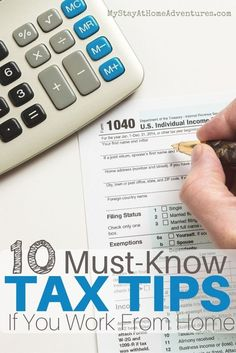 Oh tax season! Here are 10 must-know tax tips if you work from home to help you out this tax season. Work From Home Moms, Make Money From Home, Way To Make Money, How To Make, Money Tips, Money Saving Tips, Managing Money, Tax Deductions, Tax Refund