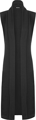 WearAll Women's Long Midi Sleeveless Open Plain Cardigan Waistcoat - Black - US 8-10 (UK 12-14) -- Continue @