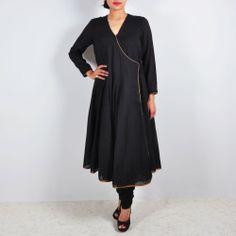 #Black_Angrakha style long kurta