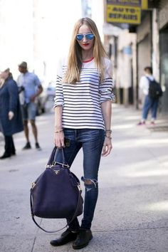 a perfect-fitting pair of skinny jeans, a tee in a Breton stripe, and a pair of flats 50 Casual Spring Outfits to Try Right Now   StyleCaster