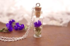 Real flower necklace  purple flowers  Sterling by PassionOfLight