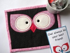 Owl Eyes Mini Quilt Mug Rug Pattern Instant by TheSewingLoft, $3.00