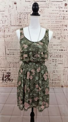 American Rag Women's Fully Lined Sleeveless Floral Lace Ruffled Sundress Size XS #AmericanRag