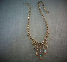 RHINESTONE CHOKER NECKLACE  Aurora Borealis Gold Tone Vintage Costume Jewelry $46.99 on Etsy by pegi16