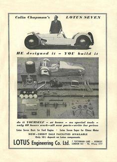 Vintage & Very Rare 1959 Lotus Seven Kit Ad Better Than Original Quality Print Lotus 7, Lotus Elan, Caterham Super 7, Lotus Sports Car, Old Race Cars, British Sports Cars, Classy Cars, Bike Wedding, Automotive Art