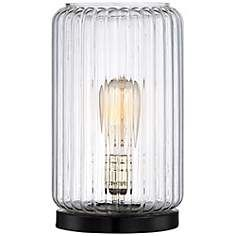 Optic Glass Round Accent Lamp with Edison Bulb
