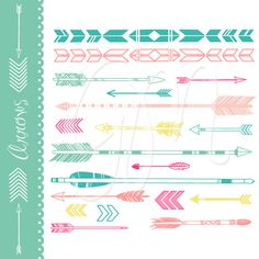 38 Digital Arrows, outline, black and white, colorful clipart. Indian Clip art for scrapbooking, wedding invitations, Small Commercial Use