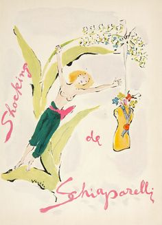Watercolour By Marcel Vertès Created For Shocking Perfume Launched In 1936.