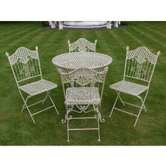 Awesome SHABBY CHIC ANTIQUE CREAM GARDEN FURNITURE WROUGHT IRON PATIO SET