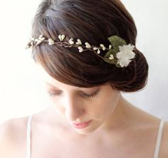 instead of berries, small flowers with a leaf?  Bridal head piece, Wedding hair accessory, Bridal hair crown, Rustic head piece, woodland wedding crown - BANDED