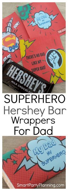 These superhero printables are the perfect gift for Father's day or dad's birthday. They are designed for Hershey bar wrappers and what dad doesn't like his chocolate! If you are looking for gifts from the kids, this one is easy to organize and will be gr