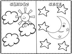gece gündüz boyama Preschool Printables, Preschool Worksheets, Preschool Activities, Sun Coloring Pages, Coloring Books, Projects For Kids, Crafts For Kids, Day And Nite, Activity Room