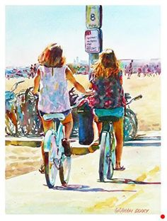 Cycling by the beach by Graham Berry Watercolor ~ x Watercolor Portrait Painting, Arches Watercolor Paper, Beach Watercolor, Watercolor Artists, Watercolor Flowers, Painting People, Drawing People, Figure Painting, Beach Drawing
