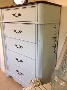 Tall dresser painted in Running Brook chalky paint by Paint & Paddles