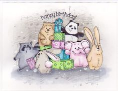 Happy Birthday - little critters from AALL Create Stamps