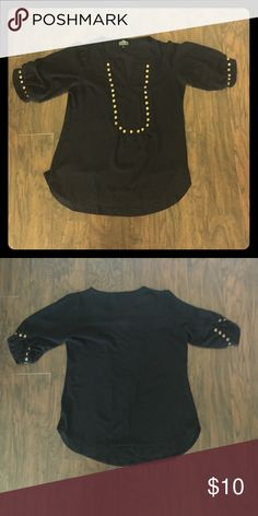 Gold studded black top Gold studded black top by Angie. Size large. In excellent condition. Angie Tops Blouses