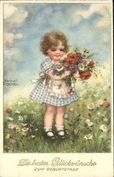 Petersen Hannes Geburtstag Kind Blumen Alabaster Serie 6495 Kat. Kuenstlerkarte…