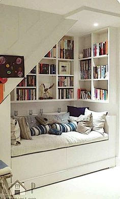 Stair Shelves, Stair Storage, Bedroom Storage, Basement Storage, Staircase Storage, Staircase Ideas, Storage Shelves, Space Saving Staircase, Room Shelves
