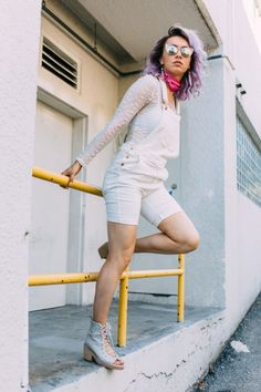 white overalls, purple hair, zerouv, lace top, streetstyle, jeffrey campbell, lace ups