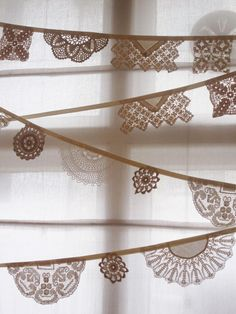 vintage Doily Bunting 3m long from Bunting by buntingboutique. £28.00, via Etsy. DIY inspiration