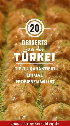 You will find 20 Turkish desserts that you would like to try out during a trip. Cheese Pastry, Turkish Recipes, Desert Recipes, Street Food, Easy Meals, Food And Drink, Turkey, Dishes, Cooking