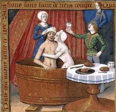 Bath, Bed & Breakfast. . Libro de horas de Carlos V, c. 1501 - 1600, Vitr/24/3, f. 10r, Biblioteca Nacional de España. http://bdh-rd.bne.es/viewer.vm?pid=d-1736792