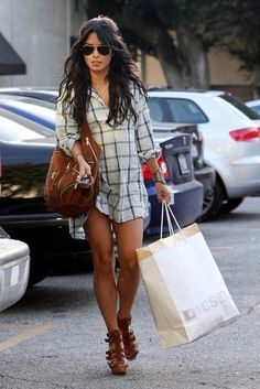 Fab Celeb Style: Vanessa Hudgens Plaid shirt and great brown sandals