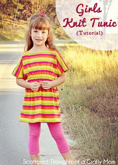 Scattered Thoughts of a Crafty Mom: Girls Knit Tunic Top Tutorial (aka The Rainbow Sherbet Top)