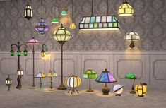 Cool Table Lamps, Retro Table Lamps, Vintage Lamps, Sims 4, The Sims, Hanging Lanterns, Hanging Lights, Retro Floor Lamps, Blown Glass Pendant Light