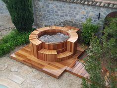 Home Garden Design, Patio Design, Outdoor Rooms, Outdoor Gardens, Whirlpool Deck, Hot Tub Surround, Round Hot Tub, Garden Retaining Wall, Gardens