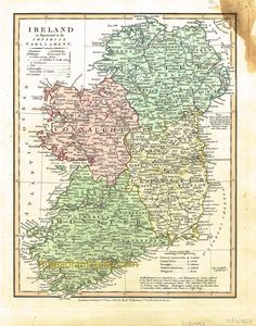 """1827 Map of Ireland """"as represented in the Imperial Parliament"""". Available in our shop and on our website Old World Maps, Vintage World Maps, Cape Cod Map, Selling Antiques, Antique Maps, Ancestry, Genealogy, Ireland, Times"""