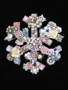 Winter Snowflake Jewelry Mosaic Art Vintage by ArtCreationsByCJ