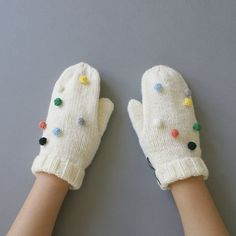 Confetti Handknit Mittens by WhiteNoiseMaker on Etsy