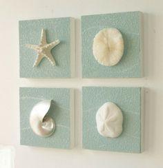 Schilderijtjes gemaakt met schelpen. Je kan Powertex gebruikten maar ook evt zand. Leuk...