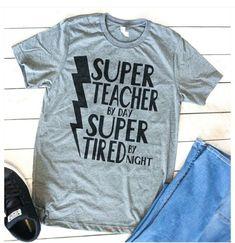 super teacher shirt, awsome teacher t shirt, cool teacher tshirt Preschool Teacher Shirts, Toddler Teacher, Teaching Shirts, Teaching Outfits, Teacher T Shirts, Kindergarten Shirts, Teacher Wear, Teacher Style, Vinyl Shirts