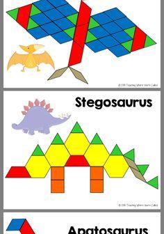 Dinosaur Theme Preschool, Dinosaur Activities, Dinosaur Crafts, Science Activities For Kids, Kindergarten Activities, Toddler Activities, Preschool Activities, Pattern Block Templates, Pattern Blocks