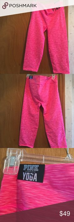 Pink seamless chop Pink seamless chop leggings new with tags looking for a new home. Super cute and girly great for spring break training.🚫🚫No low ball offers and no trades 🚫🚫 PINK Victoria's Secret Pants Ankle & Cropped