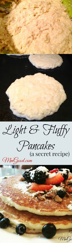 My light and fluffy pancakes are made with a secret ingredient to make them super fluffy, my number one recipe from my blog. You will never again buy purchased mix and will make your own pancakes homemade every time, come read my comments, everyone loves this recipe | www.MmGood.com