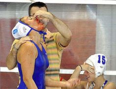 This is what happens in water polo. Literally the toughest sport in the world
