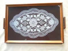 Unique Vintage Wood Serving Tray Wall Hanging Hand Painted Stencil Doily | eBay