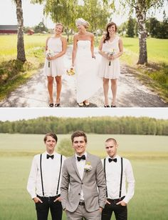 Groom and groomsmen attire, but maybe a vest for the groom instead of a jacket. And cream dresses for the bridesmaids???