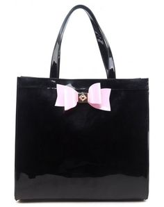 Extra Large Patent Shopper Bag with Bow Decoration - BLACK - Reduced to £14 at The Handbag Hut