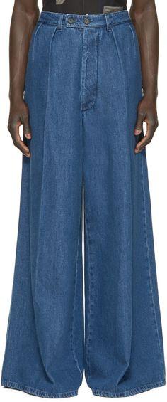 Raf Simons - Blue Denim Wide-Leg Trousers