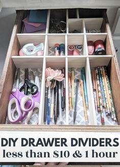 These DIY drawer dividers are the perfect way to organize your junk drawer, silverware drawer or any other drawers that need a bit of help. They are cheap and easy to make in any custom size you need to perfectly fit your own drawers. All you need is a few dollars and an hour to totally transform your messy junk drawers. Diy Drawer Dividers, Kitchen Drawer Organization, Diy Organization, All You Need Is, Diy Kitchen Remodel, Kitchen Reno, Kitchen Ideas, Diy Drawers, Drawer Organisers
