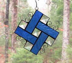 Stained Glass Suncatcher  Pinwheel in Medium Blue Glass with