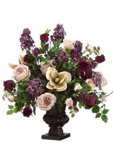 "Lilac, Rose, Magnolia Large Silk Flower Arrangement ARWF2894. 28""Lilac/Rose/Magndia/Hydrangea in urn Violet Burgundy"